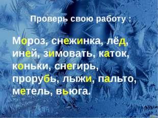 Проверь свою работу : Мороз, снежинка, лёд, иней, зимовать, каток, коньки, с