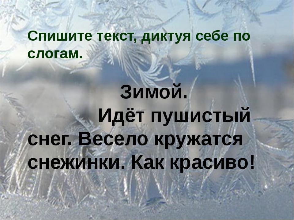 Спишите текст, диктуя себе по слогам. Зимой. Идёт пушистый снег. Весело кружа...