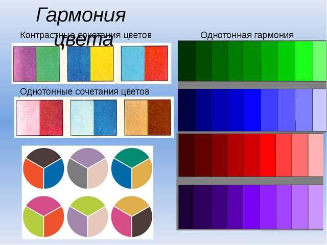 Контрастные сочетания цветов Однотонные сочетания цветов Гармония цвета Однот...