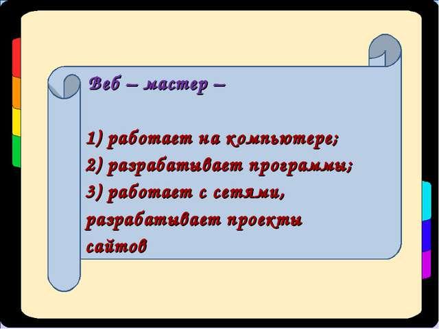 Веб – мастер – 1) работает на компьютере; 2) разрабатывает программы; 3) раб...