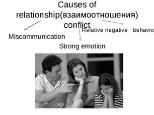 Causes of relationship(взаимоотношения) conflict Miscommunication Strong emot