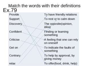 Match the words with their definitions Ex.79 Provide	To have friendly relatio