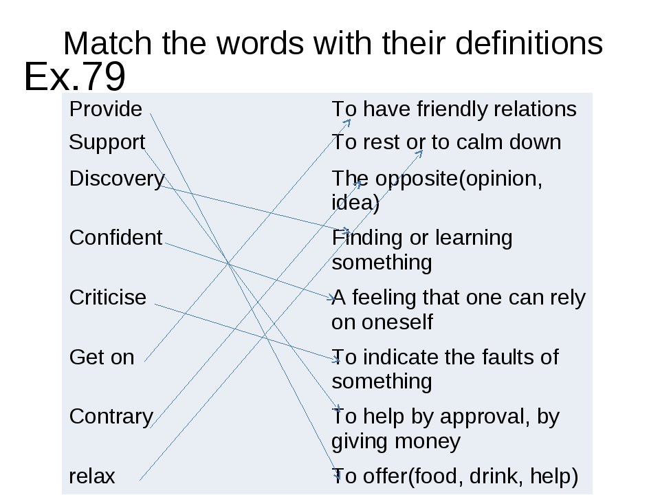 Match the words with their definitions Ex.79 Provide	To have friendly relatio...