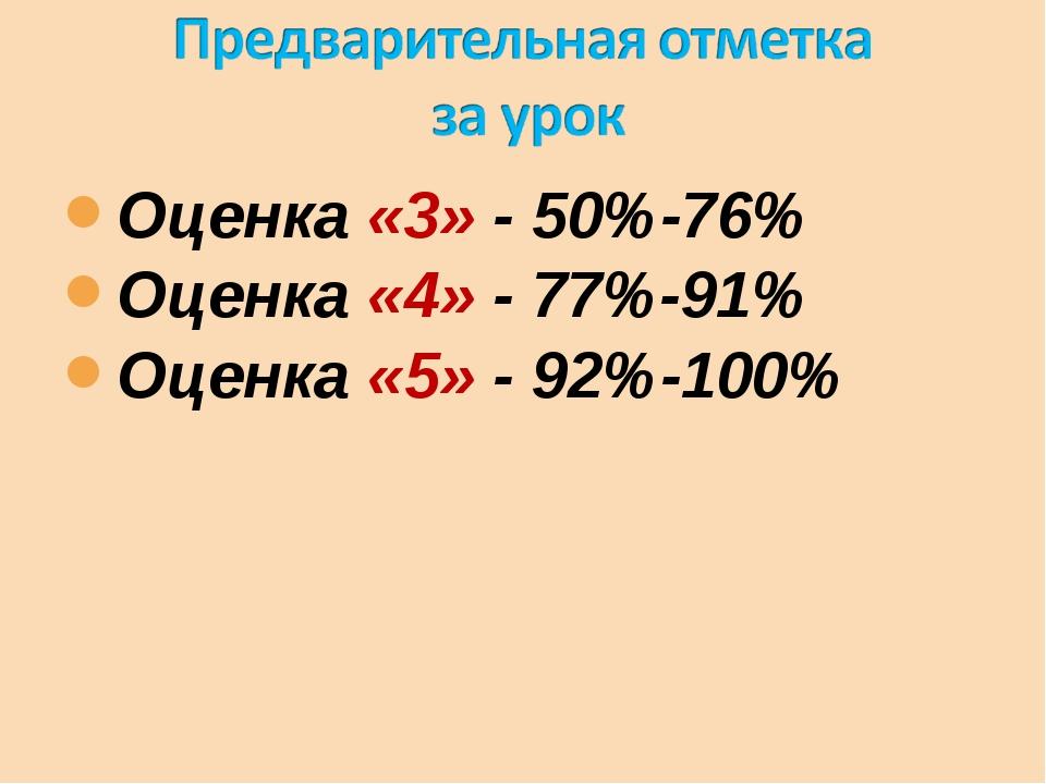 Оценка «3» - 50%-76% Оценка «4» - 77%-91% Оценка «5» - 92%-100%