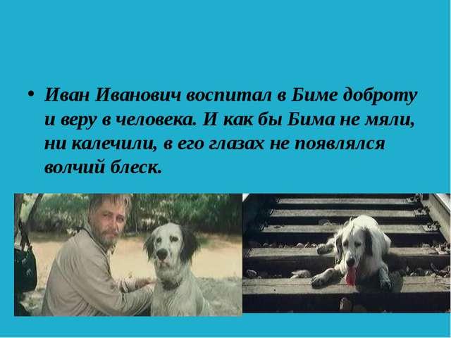 Иван Иванович воспитал в Биме доброту и веру в человека. И как бы Бима не мя...
