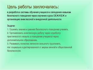 * в разработке системы обучения учащихся и овладения навыкам безопасного пове