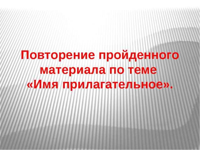 Повторение пройденного материала по теме «Имя прилагательное».