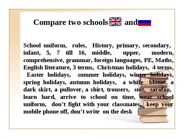 Compare two schools and School uniform, rules, History, primary, secondary, i...