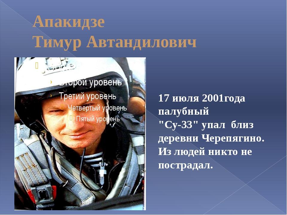 "Апакидзе Тимур Автандилович 17 июля 2001года палубный ""Су-33"" упал близ дерев..."