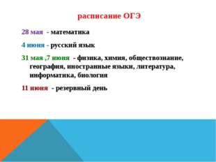 расписание ОГЭ 28 мая - математика 4 июня - русский язык 31 мая ,7 июня - фи