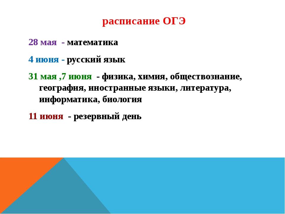 расписание ОГЭ 28 мая - математика 4 июня - русский язык 31 мая ,7 июня - фи...