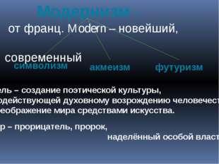 Модернизм – от франц. Modern – новейший, современный Цель – создание поэтиче
