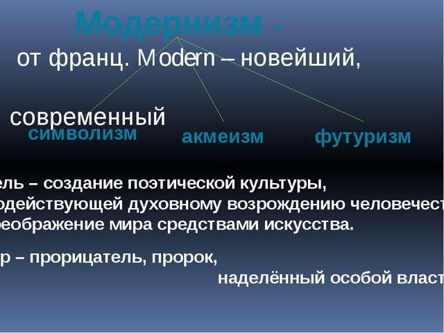 Модернизм – от франц. Modern – новейший, современный Цель – создание поэтиче...