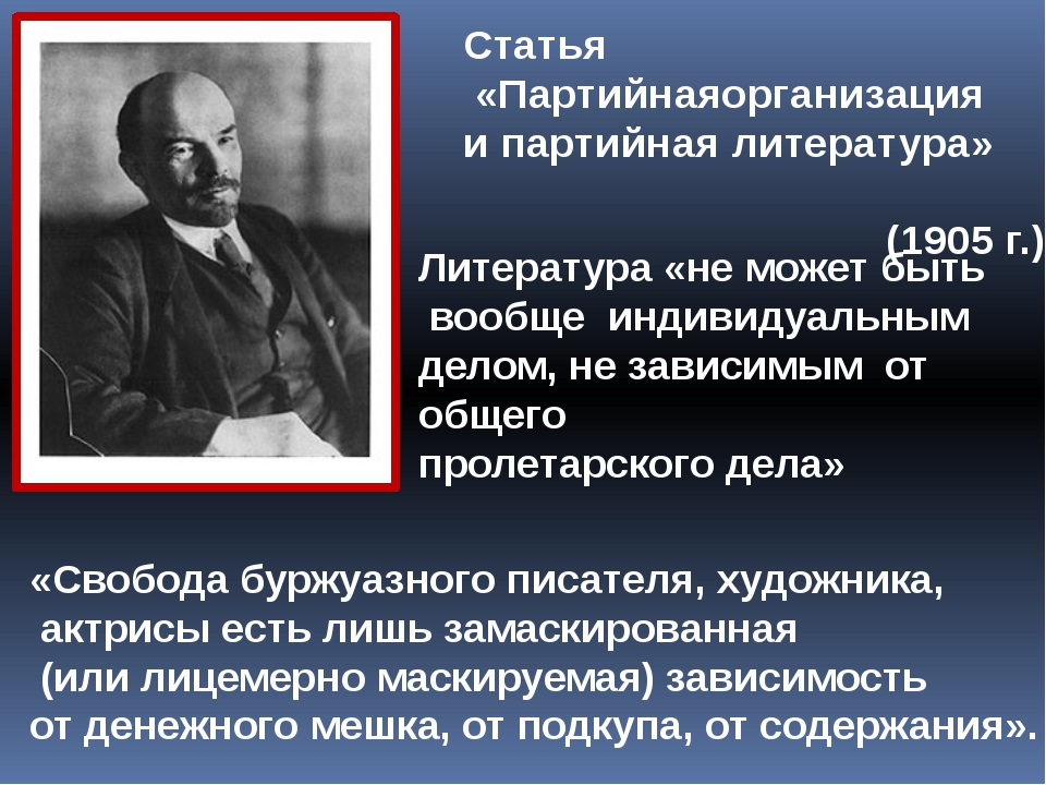 Статья «Партийнаяорганизация и партийная литература» (1905 г.) Литература «не...