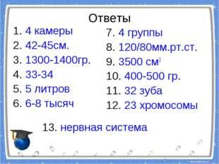 Ответы 1. 4 камеры 2. 42-45см. 3. 1300-1400гр. 4. 33-34 5. 5 литров 6. 6-8 ты