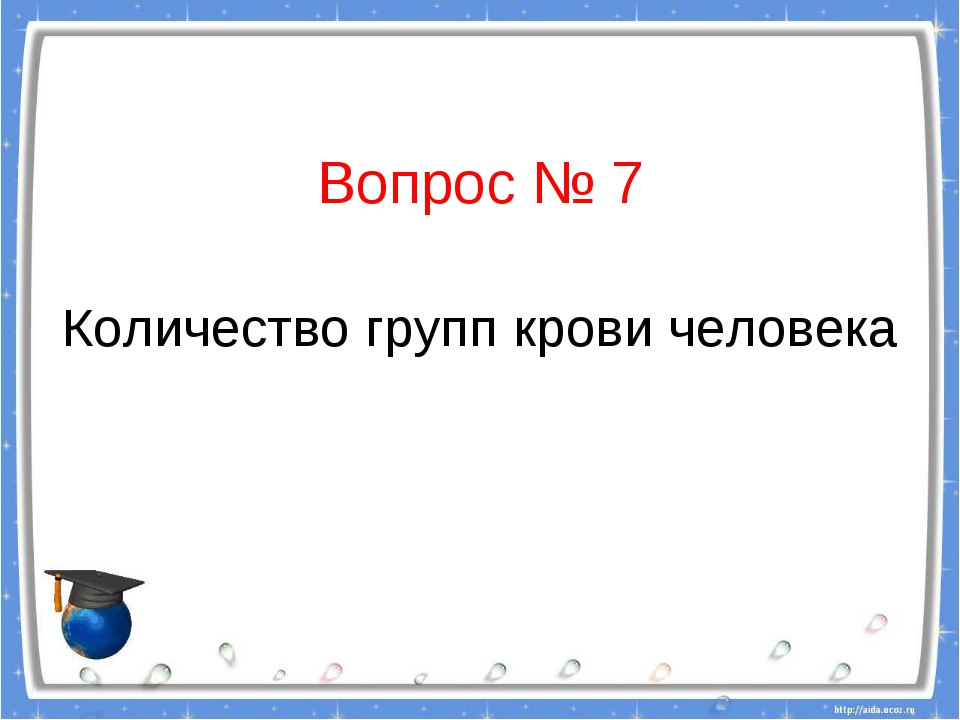 Вопрос № 7 Количество групп крови человека