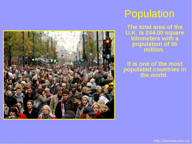 The total area of the U.K. is 244.00 square kilometers with a population of 5...