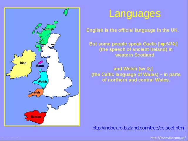 English is the official language in the UK. But some people speak Gaelic [ˈge...