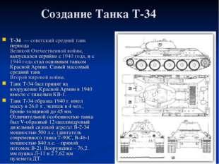 Создание Танка Т-34 T-34 — советский средний танк периода Великой Отечествен