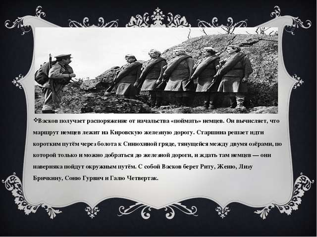 Васков получает распоряжение от начальства «поймать» немцев. Он вычисляет, ч...