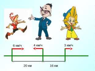 4 км/ч 16 км 20 км 6 км/ч 3 км/ч