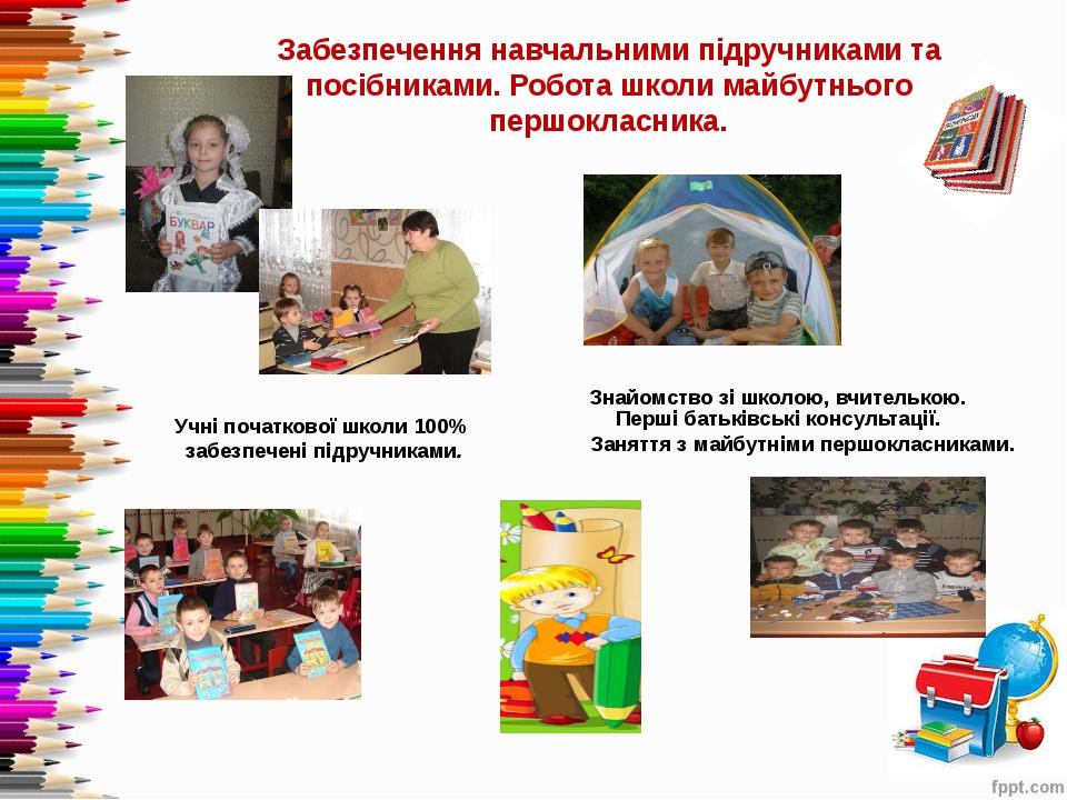 Забезпечення навчальними підручниками та посібниками. Робота школи майбутньог...