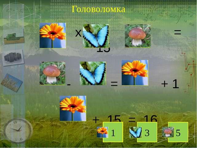 Головоломка х х = 15 - = + 1 + 15 = 16 1 3 5