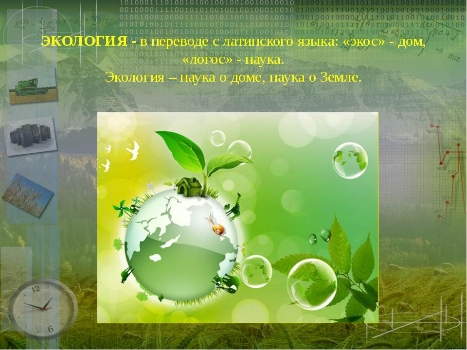 ЭКОЛОГИЯ - в переводе с латинского языка: «экос» - дом, «логос» - наука. Экол...