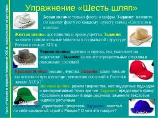 Упражнение «Шесть шляп» Урок «Россия в первой половине XIX в: социальная стру