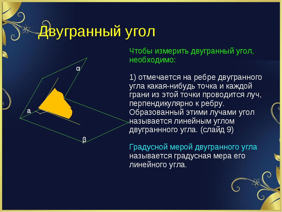 Двугранный угол α β а Чтобы измерить двугранный угол, необходимо: 1) отмечает...