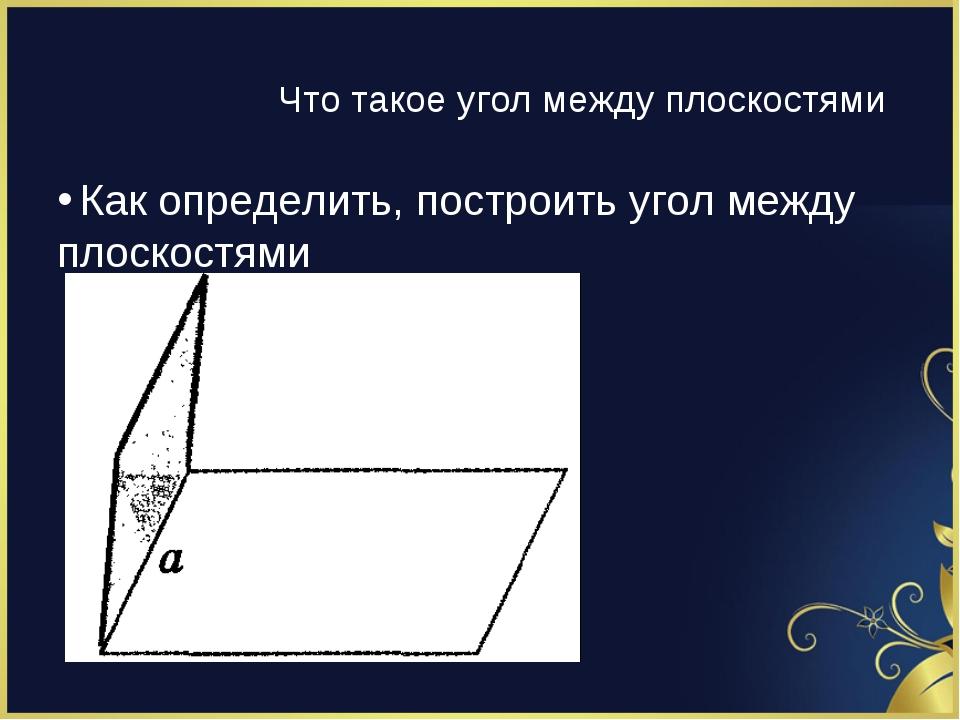 Как определить, построить угол между плоскостями Что такое угол между плоскос...