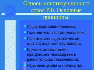 Основы конституционного строя РФ. Основные принципы. Социальная защита челове