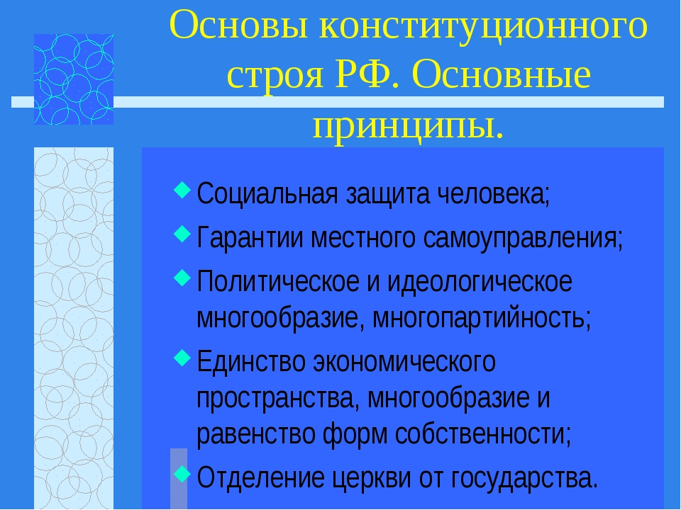 Основы конституционного строя РФ. Основные принципы. Социальная защита челове...