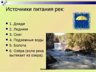 Источники питания рек: 1. Дожди 2. Ледники 3. Снег 4. Подземные воды 5. Болот
