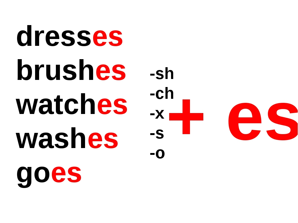 dresses brushes watches washes goes -sh -ch -x -s -o + es