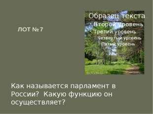ЛОТ № 7  Как называется парламент в России? Какую функцию он осуществляет?