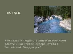 ЛОТ № 11 Кто является единственным источником власти и носителем суверенитета