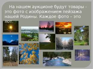 На нашем аукционе будут товары - это фото с изображением пейзажа нашей Родин