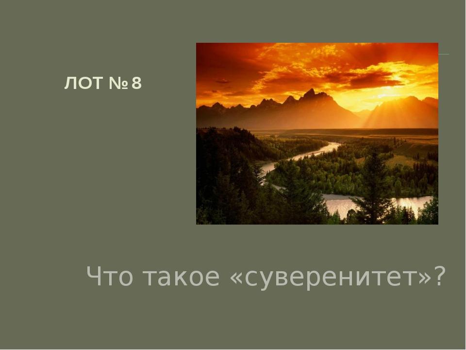ЛОТ № 8 Что такое «суверенитет»?