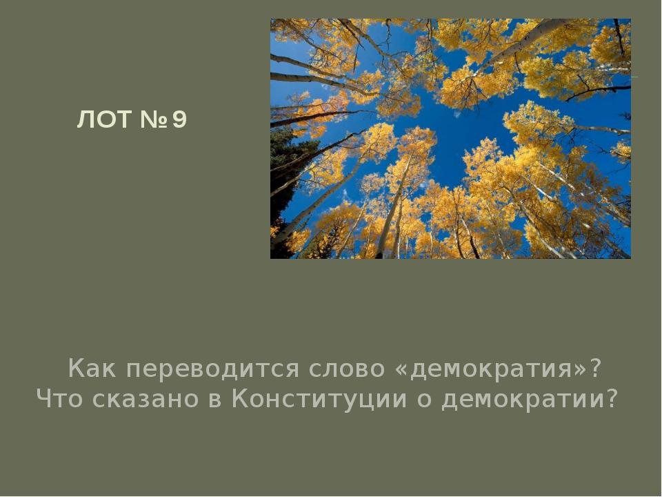 ЛОТ № 9 Как переводится слово «демократия»? Что сказано в Конституции о демо...