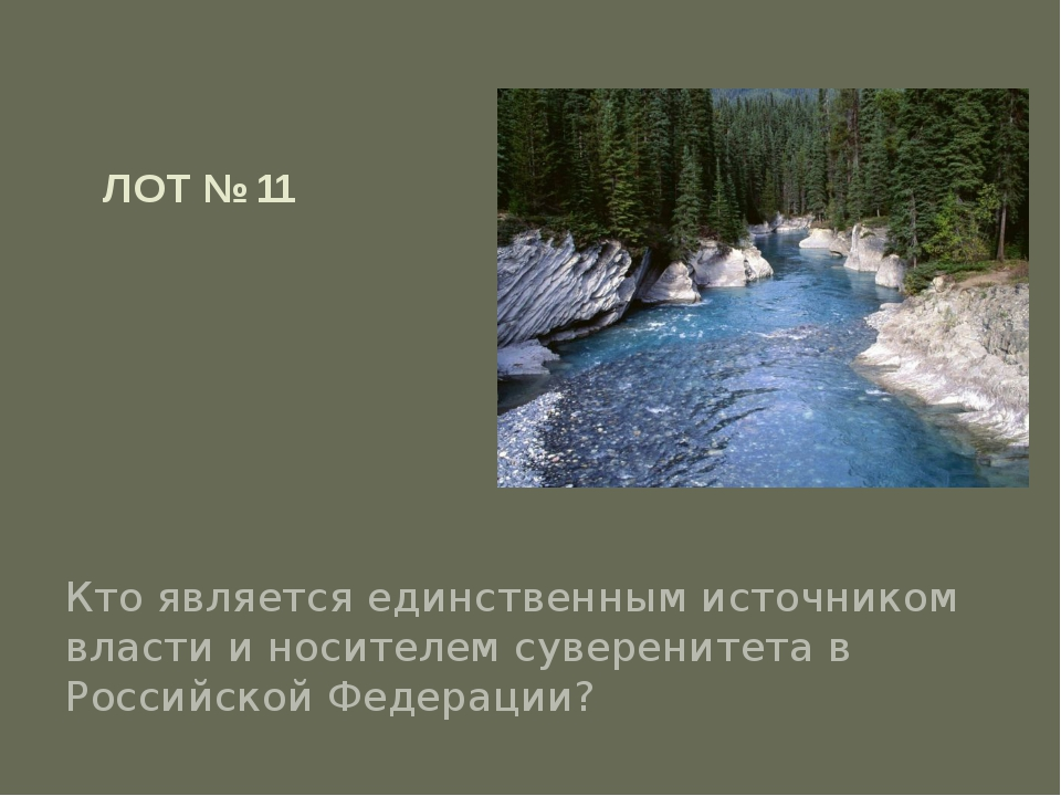 ЛОТ № 11 Кто является единственным источником власти и носителем суверенитета...