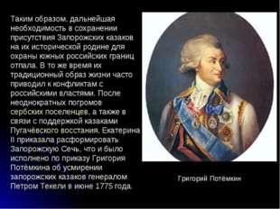Таким образом, дальнейшая необходимость в сохранении присутствия Запорожских