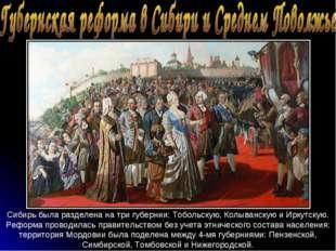 Сибирь была разделена на три губернии: Тобольскую, Колыванскую и Иркутскую. Р
