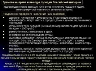 Грамота на права и выгоды городам Российской империи: Разделение городского н