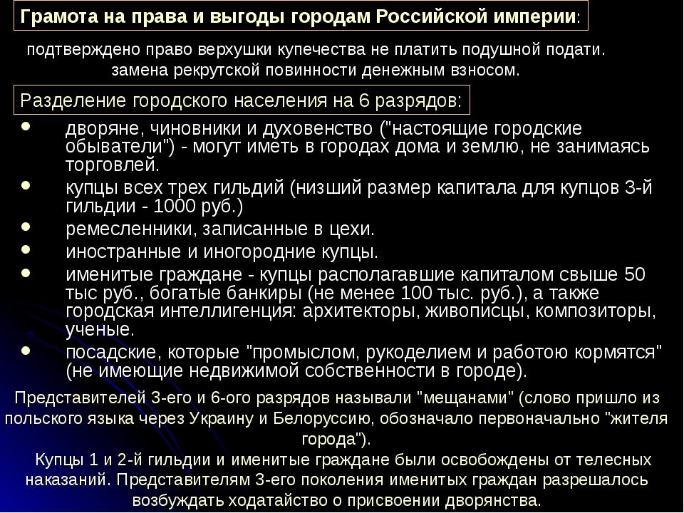 Грамота на права и выгоды городам Российской империи: Разделение городского н...
