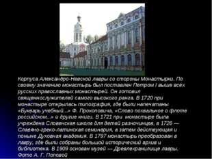 Корпуса Александро-Невской лавры со стороны Монастырки. По своему значению мо