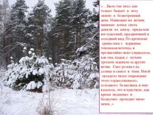 «…Было так тихо, как только бывает в лесу зимою в безветренный день.