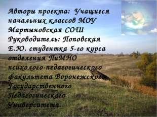 Авторы проекта: Учащиеся начальных классов МОУ Мартыновская СОШ Руководитель: