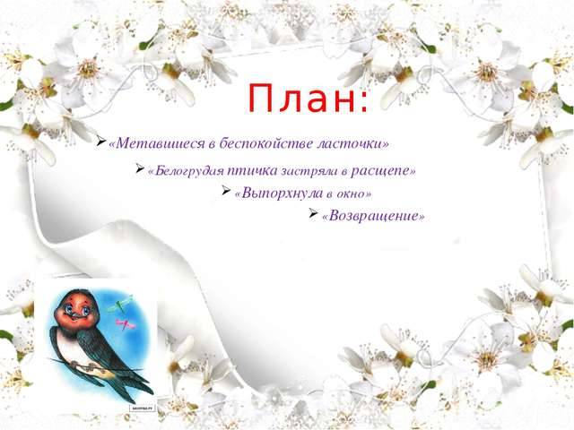 План: «Метавшиеся в беспокойстве ласточки» «Белогрудая птичка застряла в рас...