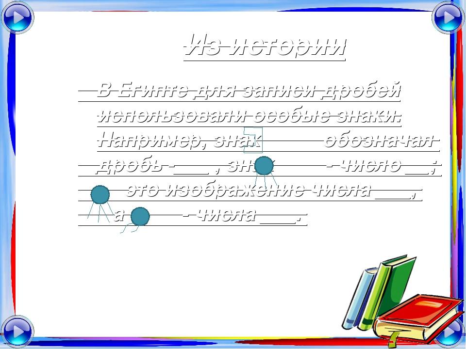 Из истории В Египте для записи дробей использовали особые знаки. Например, зн...